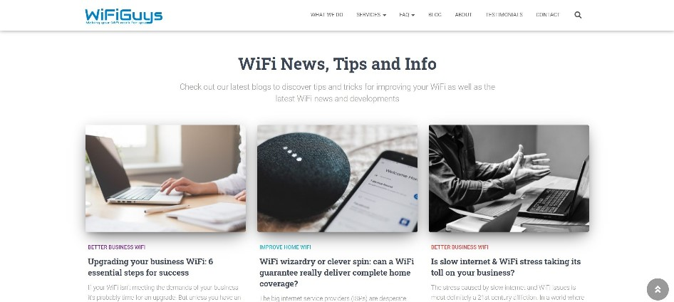 WiFiGuys home page blog section - click to visit website